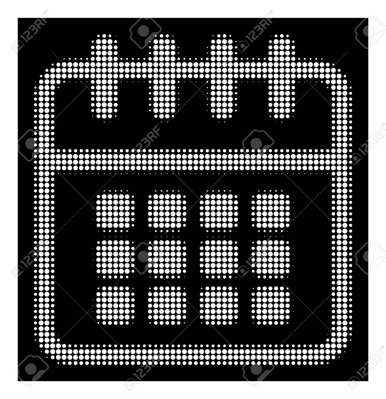 Halftone Dotted Spiral Calendar Icon. White Pictogram With Dotted.. throughout Calendar Icon White