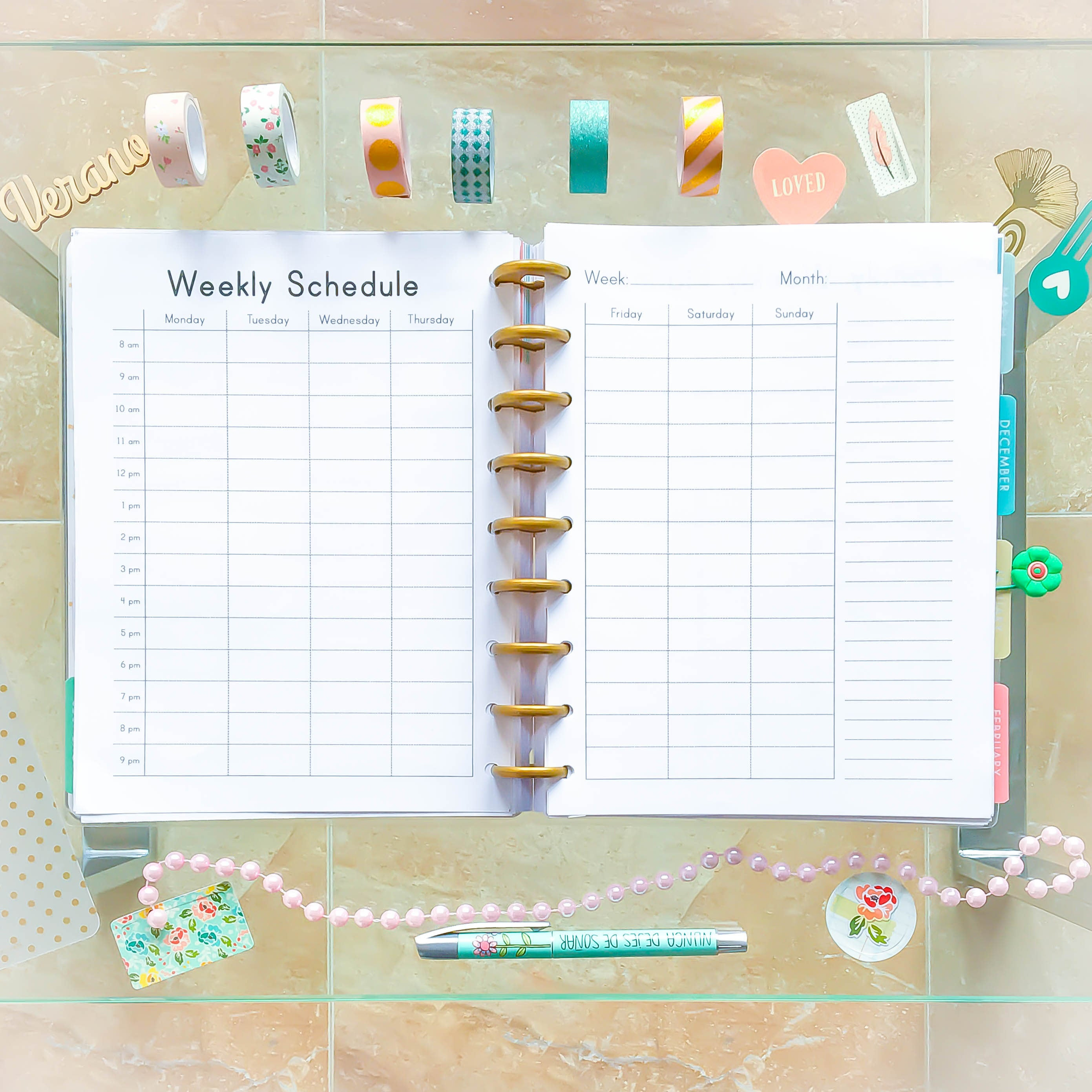 Happy Planner Hourly Weekly Schedule Printable Pdf Mambi in Hourly Weekly Schedule Pdf