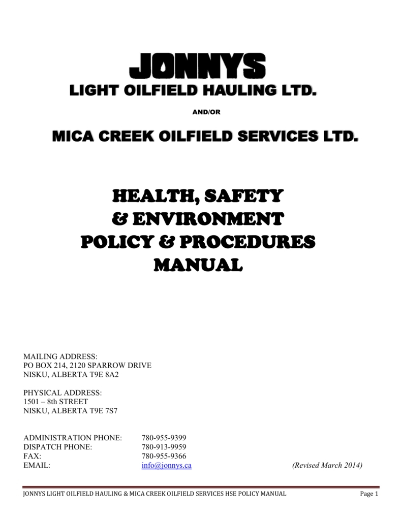 Health, Safety & Environment Policy & Procedures Manual intended for Oilfield Hitch Calendar Excel