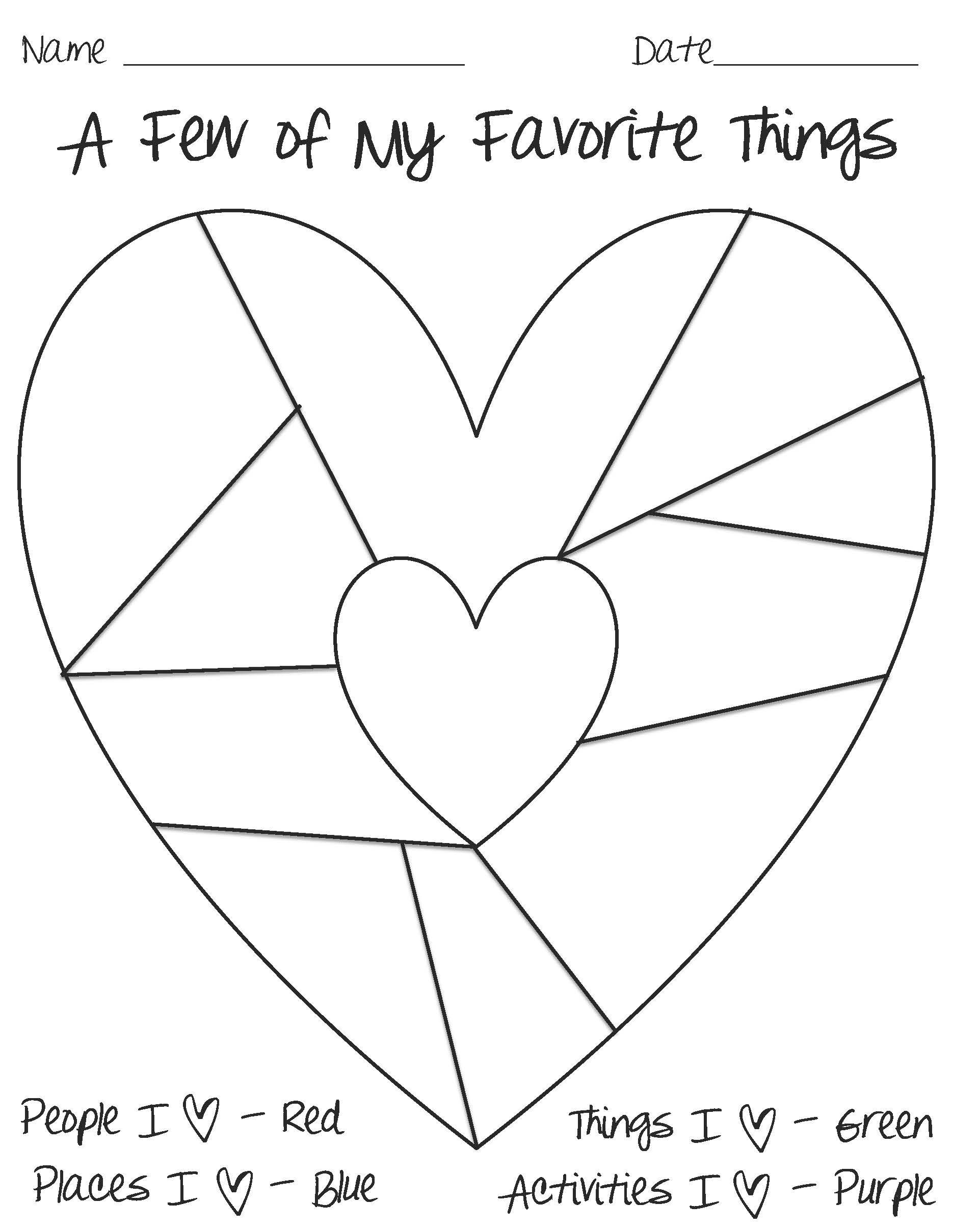 Heart Map Template | Hhcm Programming | 3Rd Grade Writing intended for A Few Of My Favorite Things Heart Map