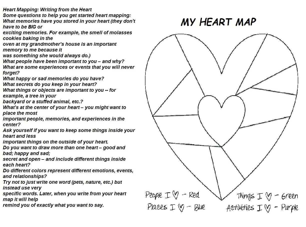Heart Mapping And Writing Presented By Georgia Heard | Heart regarding Heart Map Template