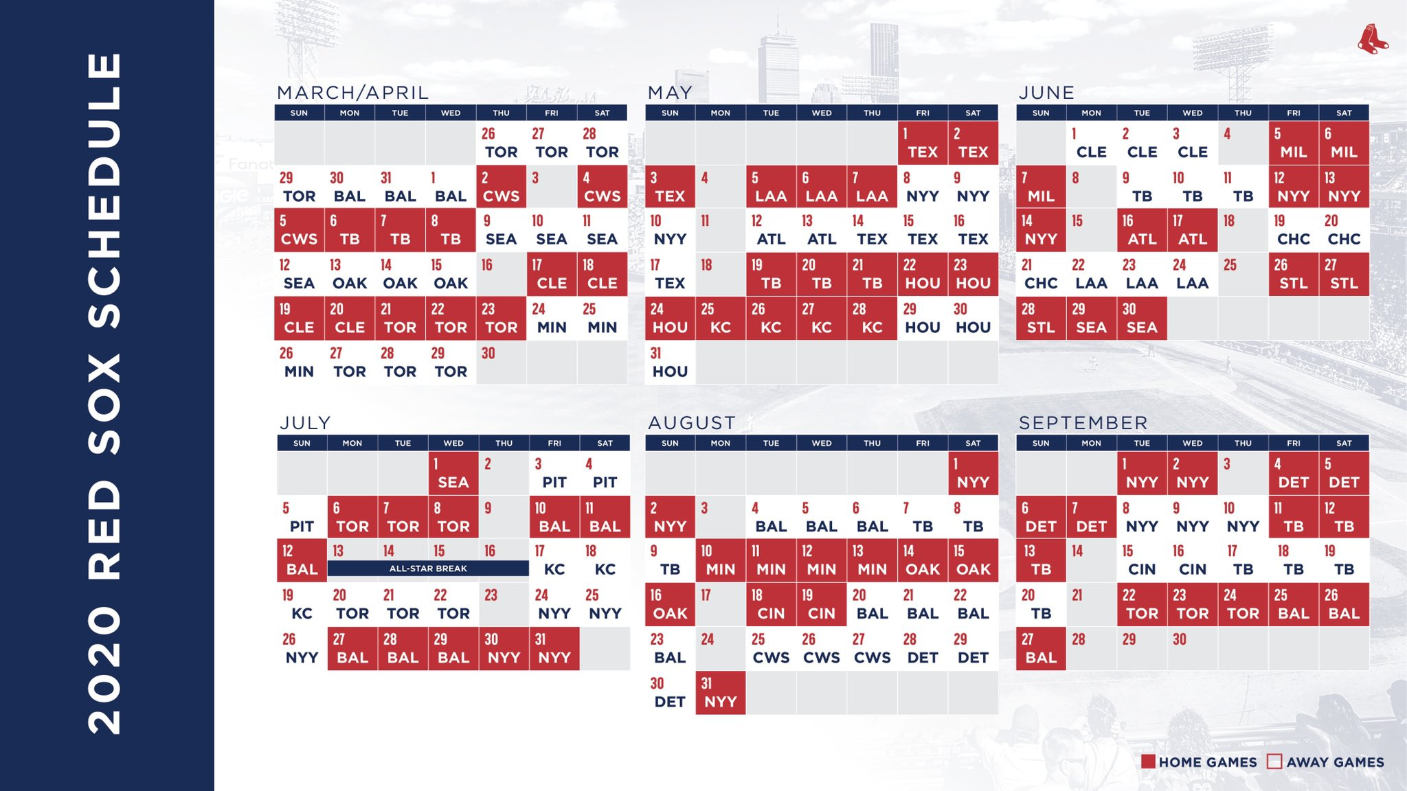 Here's The 2020 Red Sox Schedule | Boston with regard to Atlanta Braves Schedule 2020 Printable