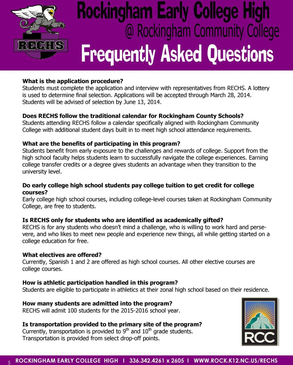 High School Options Faq S  Pdf Free Download within Rockingham County School Calendar