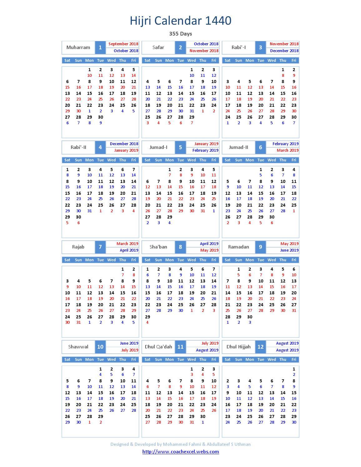 Hijri Calendar 1440 By International Moon Calendar  Issuu intended for 1440 Hijri Calendar