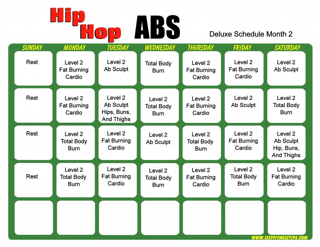 Hip Hop Abs Schedule Deluxe Month 2 | Hip Hop Abs, Hip intended for Insanity Max 30 Calendar Month 2