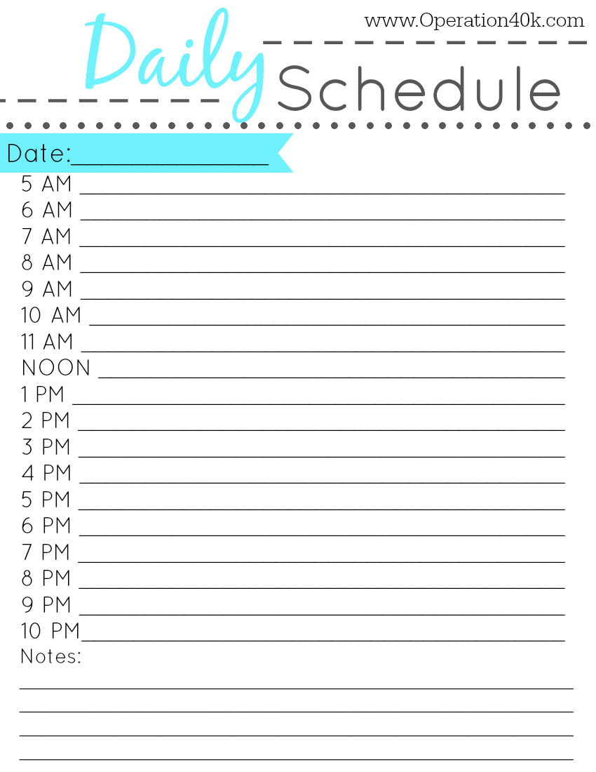 Hourly Daily Schedule  Template throughout Printable Hourly Weekly Calendar