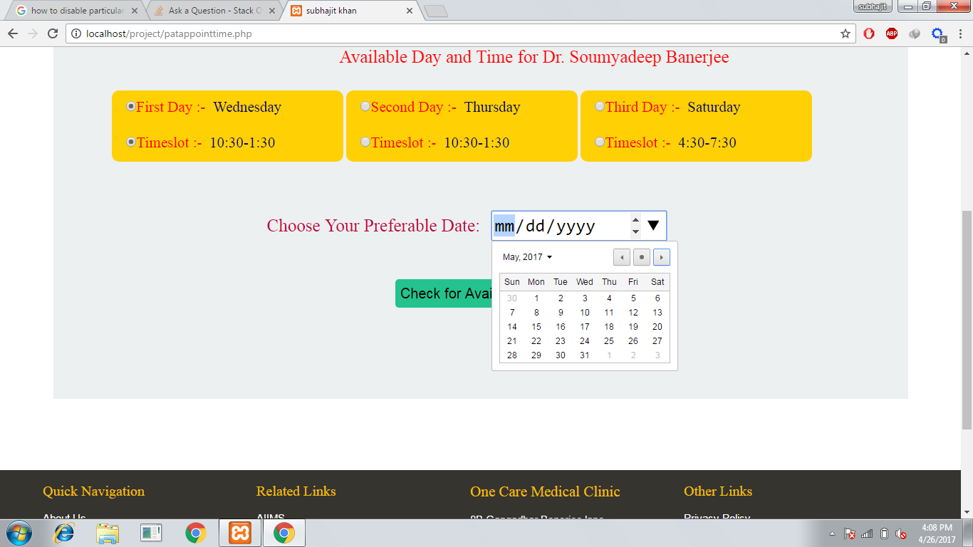 How Can I Disable Particular Day In Calendar With Html ,css with Php Calendar Date Picker