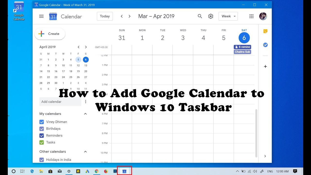 How To Add Google Calendar To Windows 10 Taskbar within Add Google Calendar To Taskbar Windows 10