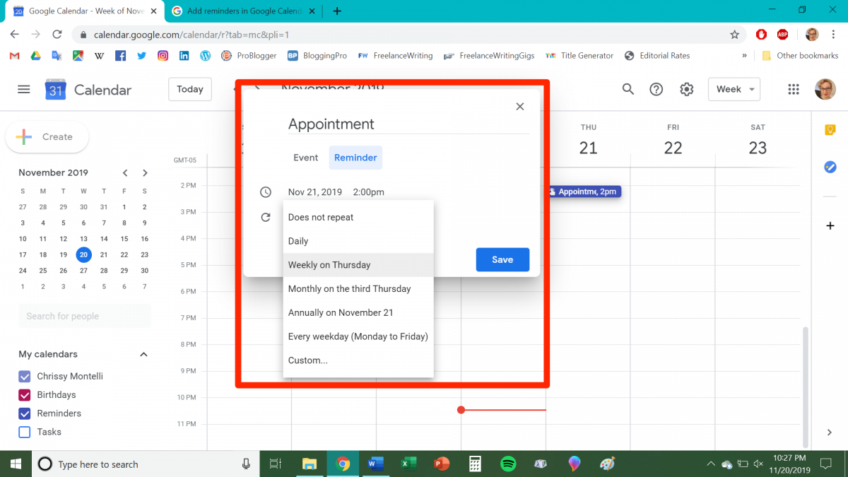 How To Add Reminders To Your Google Calendar On Desktop Or in Calendar Reminder For Desktop
