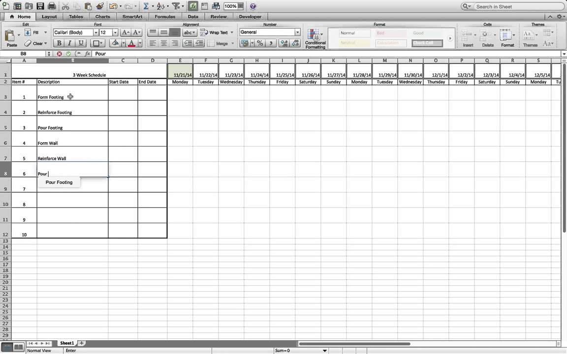 How To Build A Simple Three Week Rolling Schedule In Excel. for Look Ahead Schedule Template
