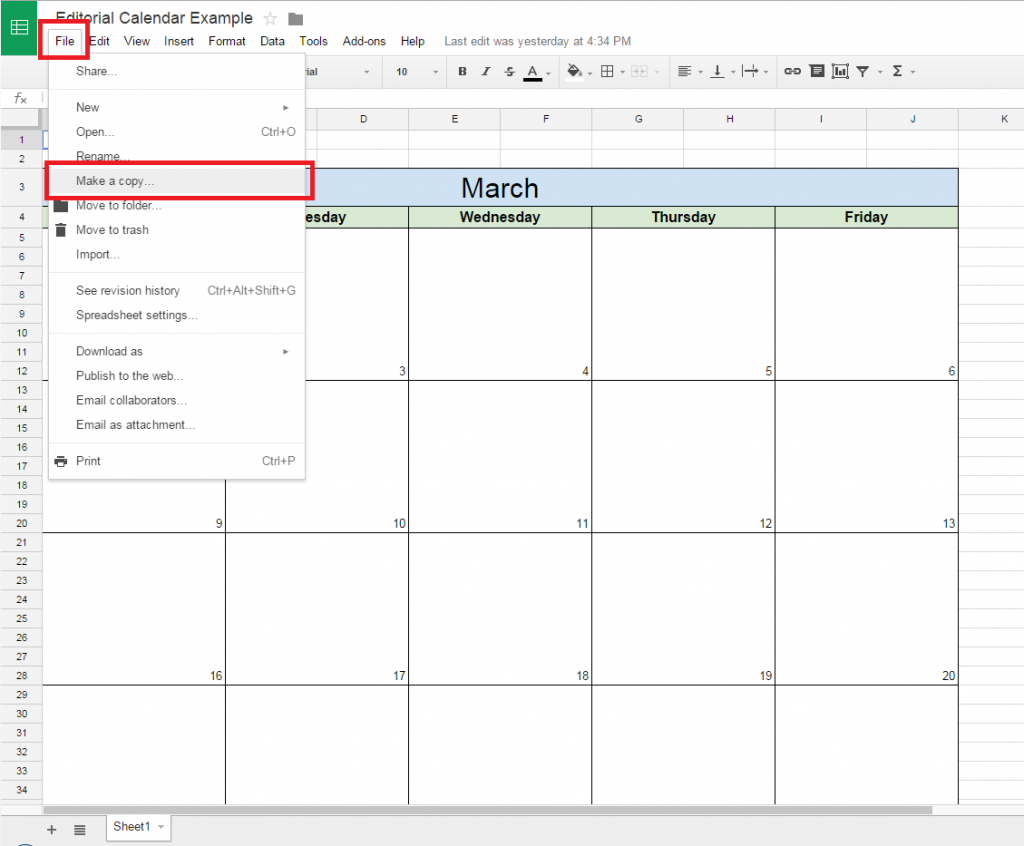 How To Create A Free Editorial Calendar Using Google Docs in Calendar Maker Google Docs
