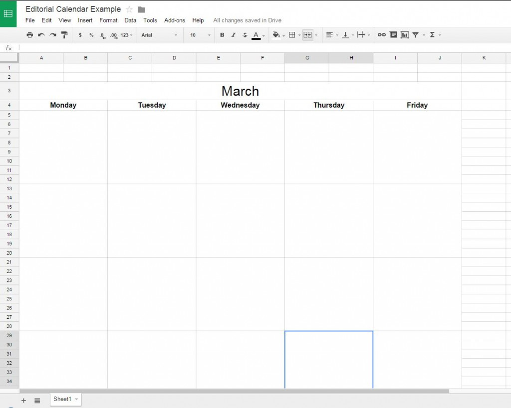 How To Create A Free Editorial Calendar Using Google Docs with Calendar Maker Google Docs