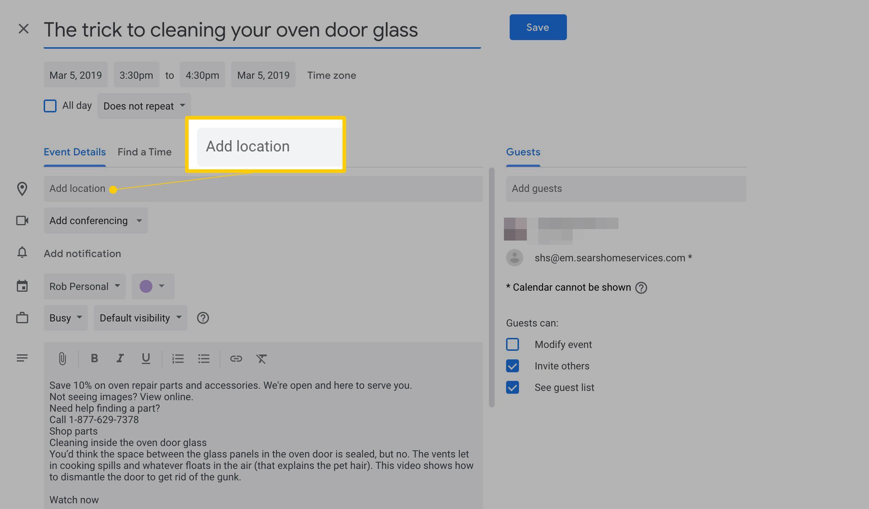 How To Create A Google Calendar Event From A Gmail Message inside Google Calendar Add Image