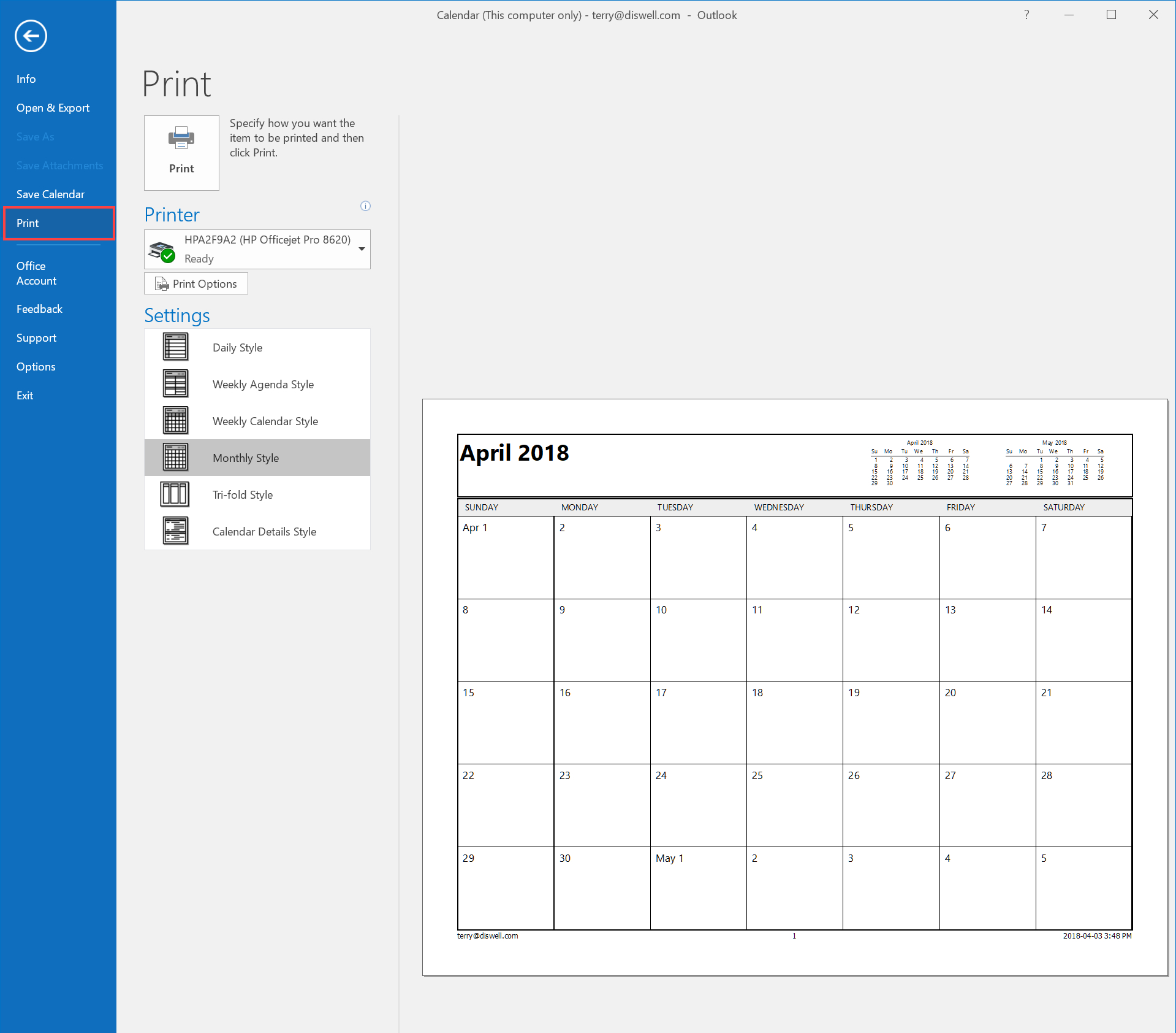 How To Email Or Print Your Calendar In Outlook 2016 inside View Calendar In Outlook 2016