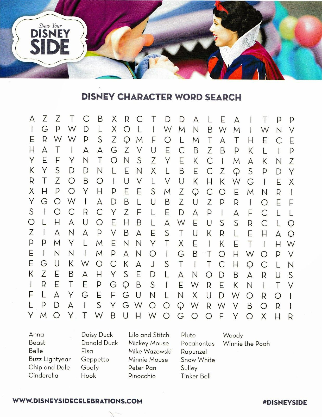 How To Host A Fabulous Disney Side @home Celebration pertaining to Printable Disney Word Search