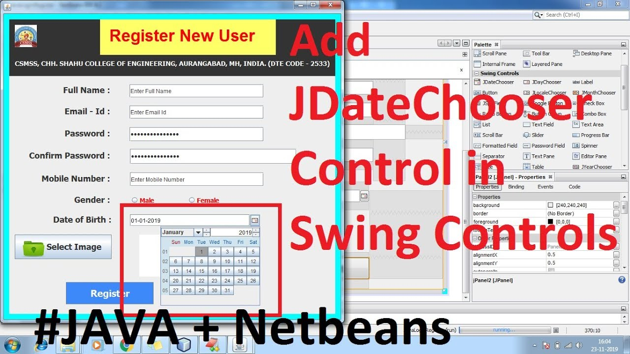 How To Install Add Jdatechooser, Jcalendar Date Picker In Netbeans Ide Swing with regard to Java Swing Date Picker