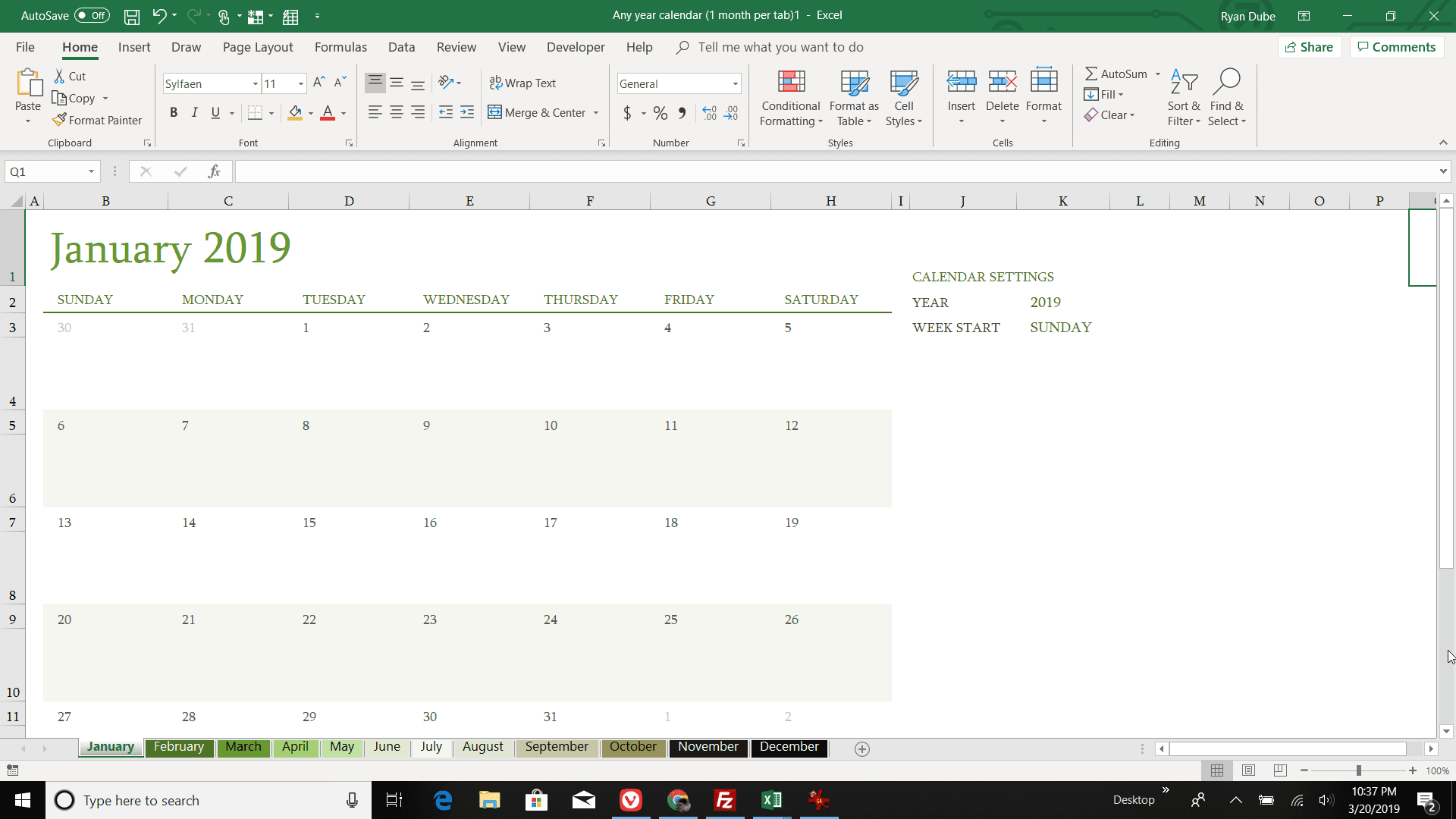 How To Make A Calendar In Excel for Calendar With Excel