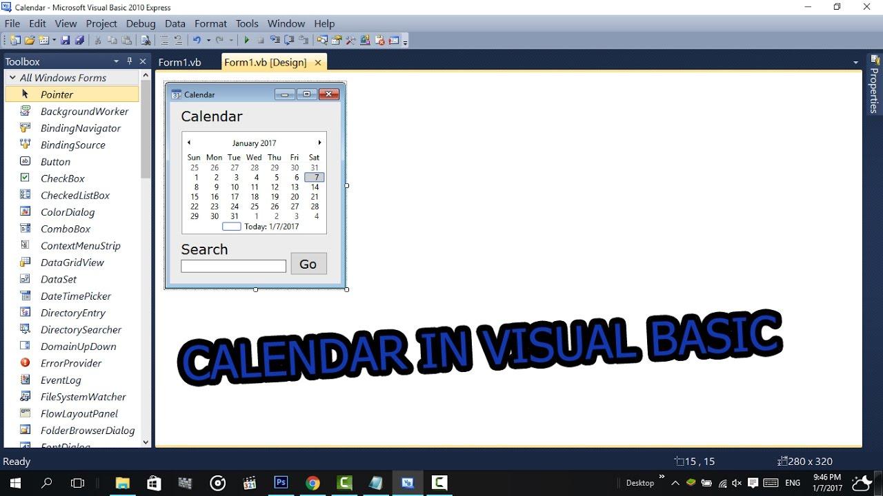 How To Make A Calendar In Visual Basic (2008,2010,2015,2017) With Codes regarding Vb6 Calendar Control