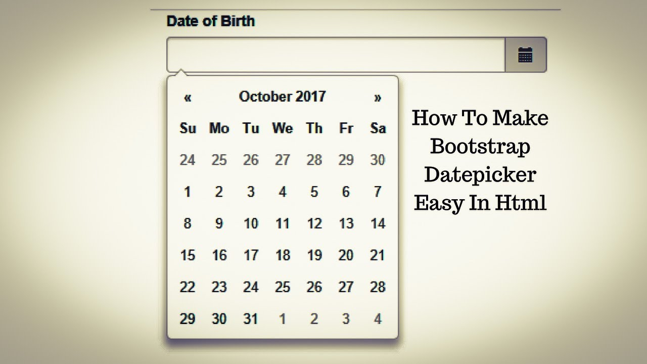 How To Make Bootstrap Datepicker Easy In Html within Bootstrap Calendar W3Schools