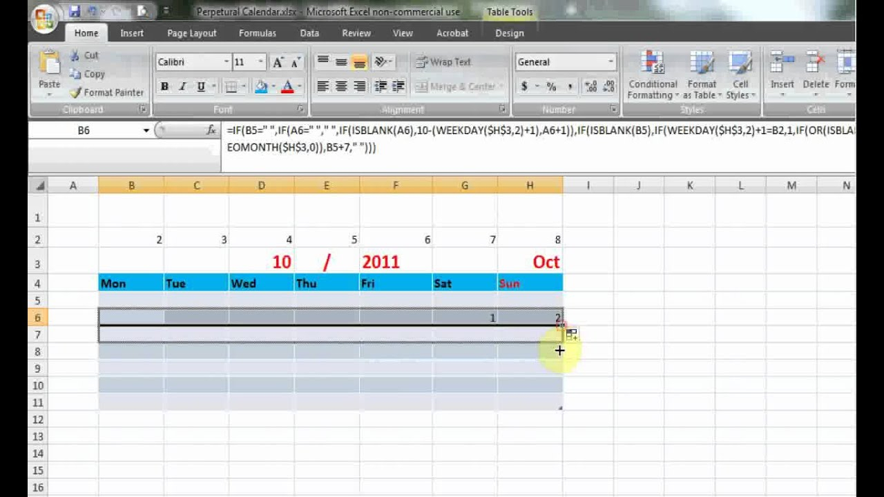 How To Make Perpetual Calendar Using Formula In Excel 2007 inside Perpetual Calendar Excel