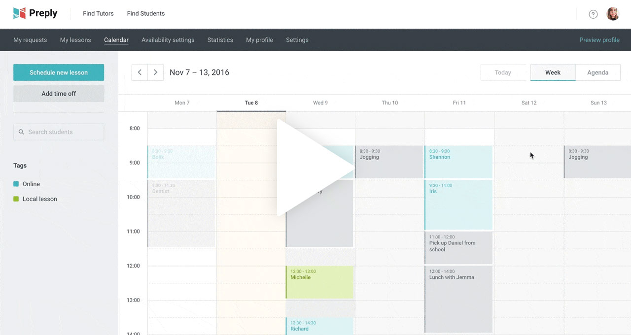 How To Use Preply Calendar in One Week Calendar With Time Slots