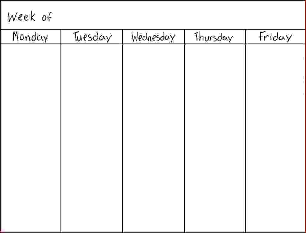 Https:goodsopticalblankmonthly5Daycalendar2018 regarding 5 Day Weekly Planner Template