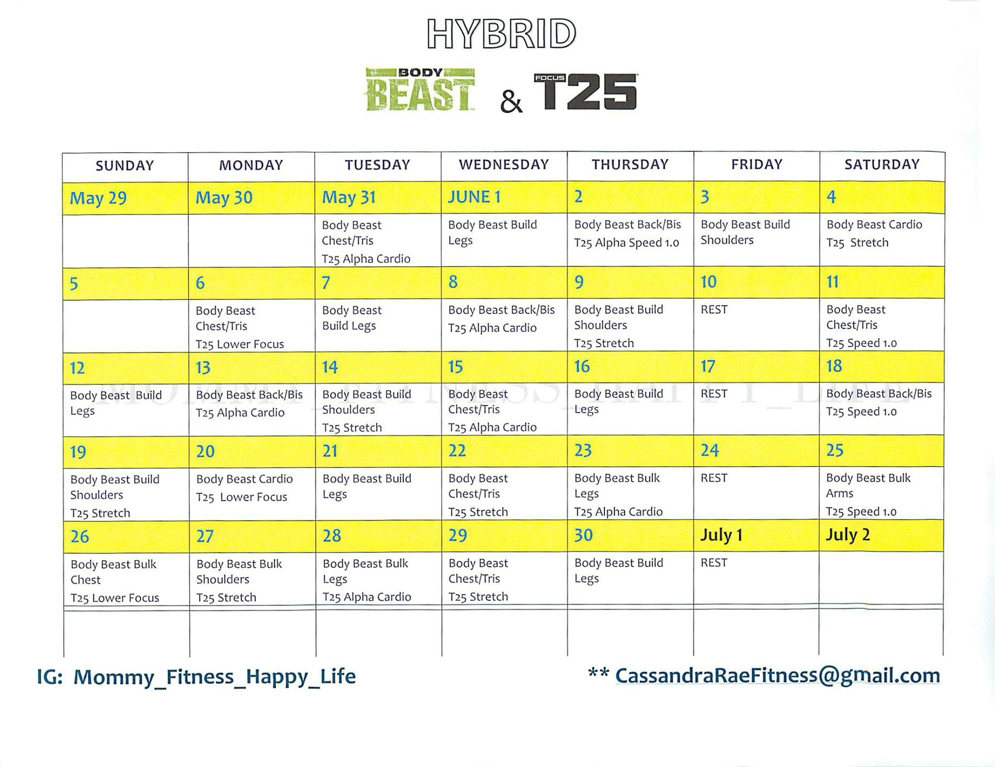 Hybrid. Body Beast And T25 | Body Beast, Beast, Exercise in Body Beast Hybrid Calendar