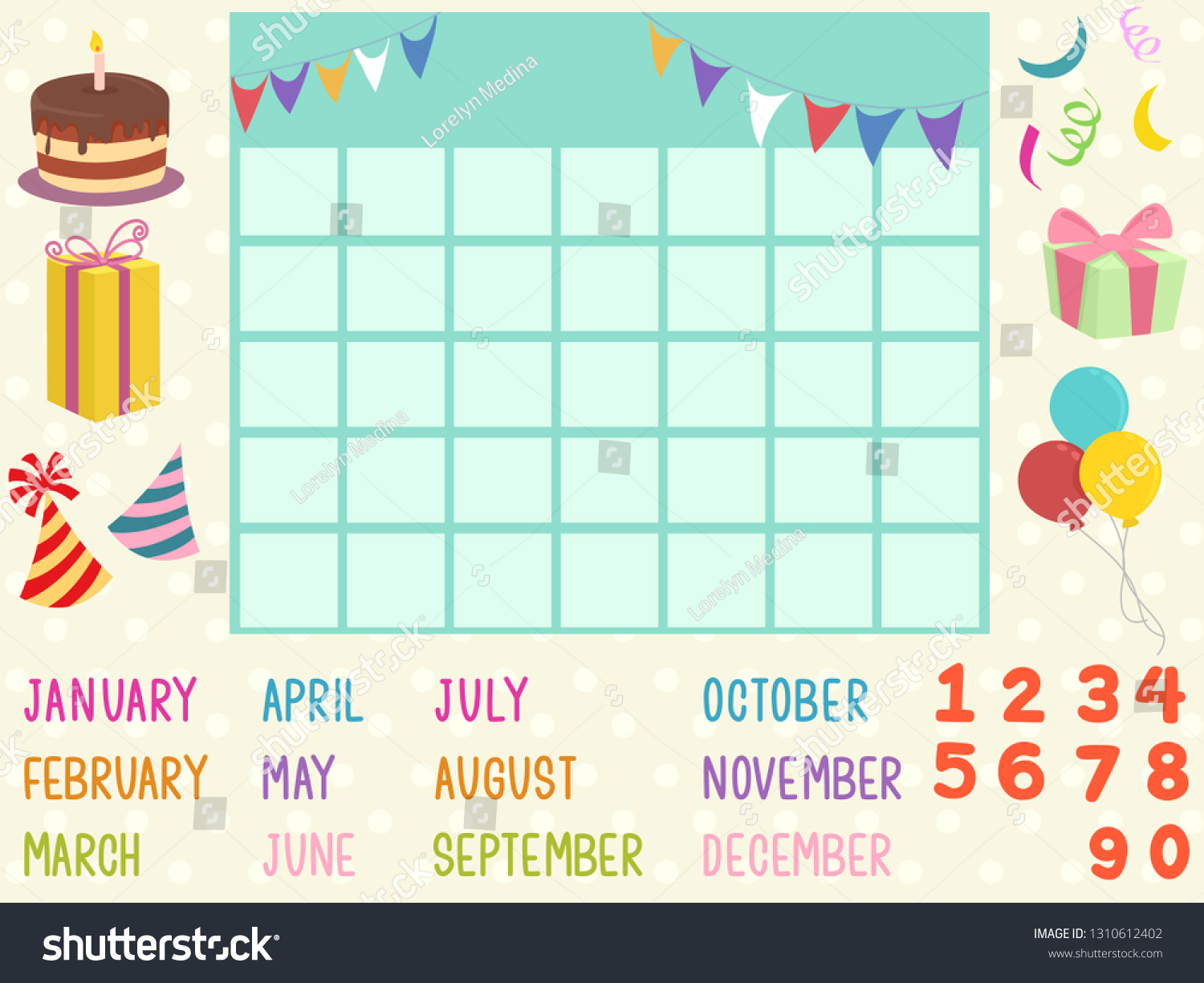 Illustration Blank Calendar Template Birthday Elements Stock in Blank Birthday Calendar Template