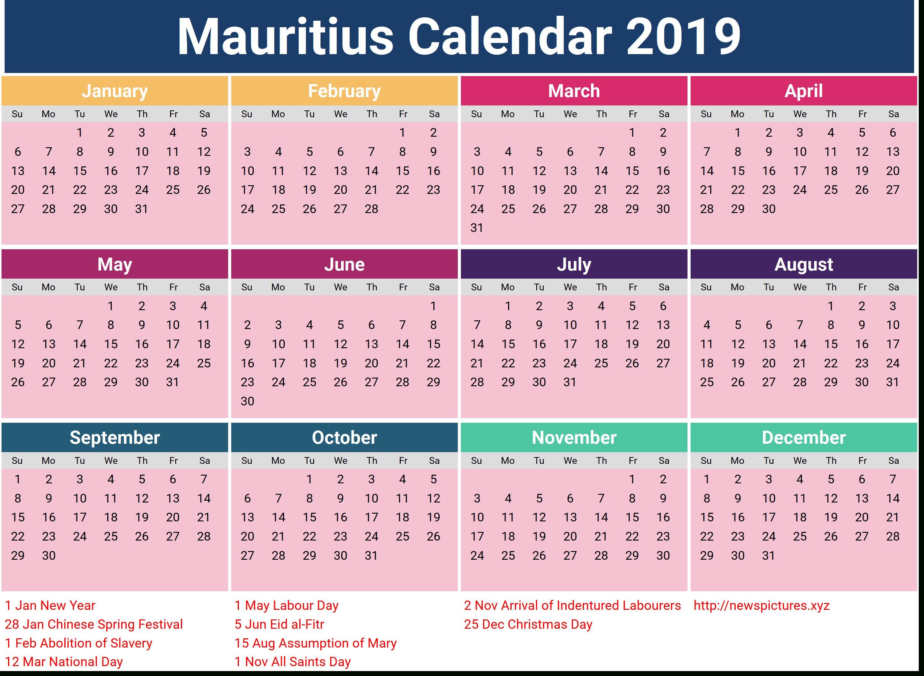 Image For Mauritius Calendar 2019 With Holidays | Calendar intended for Mauritius School Calendar 2020