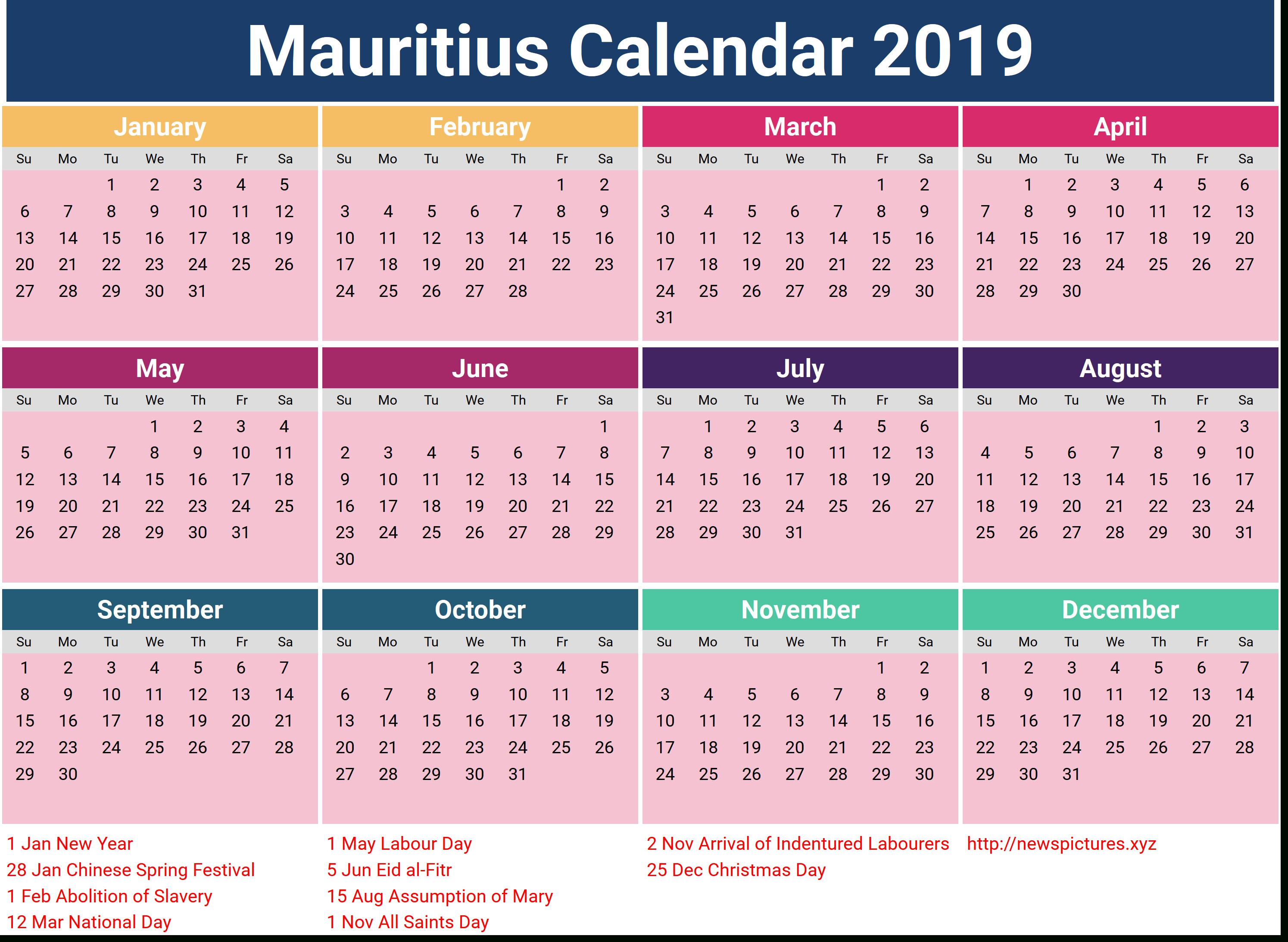 Image For Mauritius Calendar 2019 With Holidays | Calendar with Excel Lunar Calendar Formula