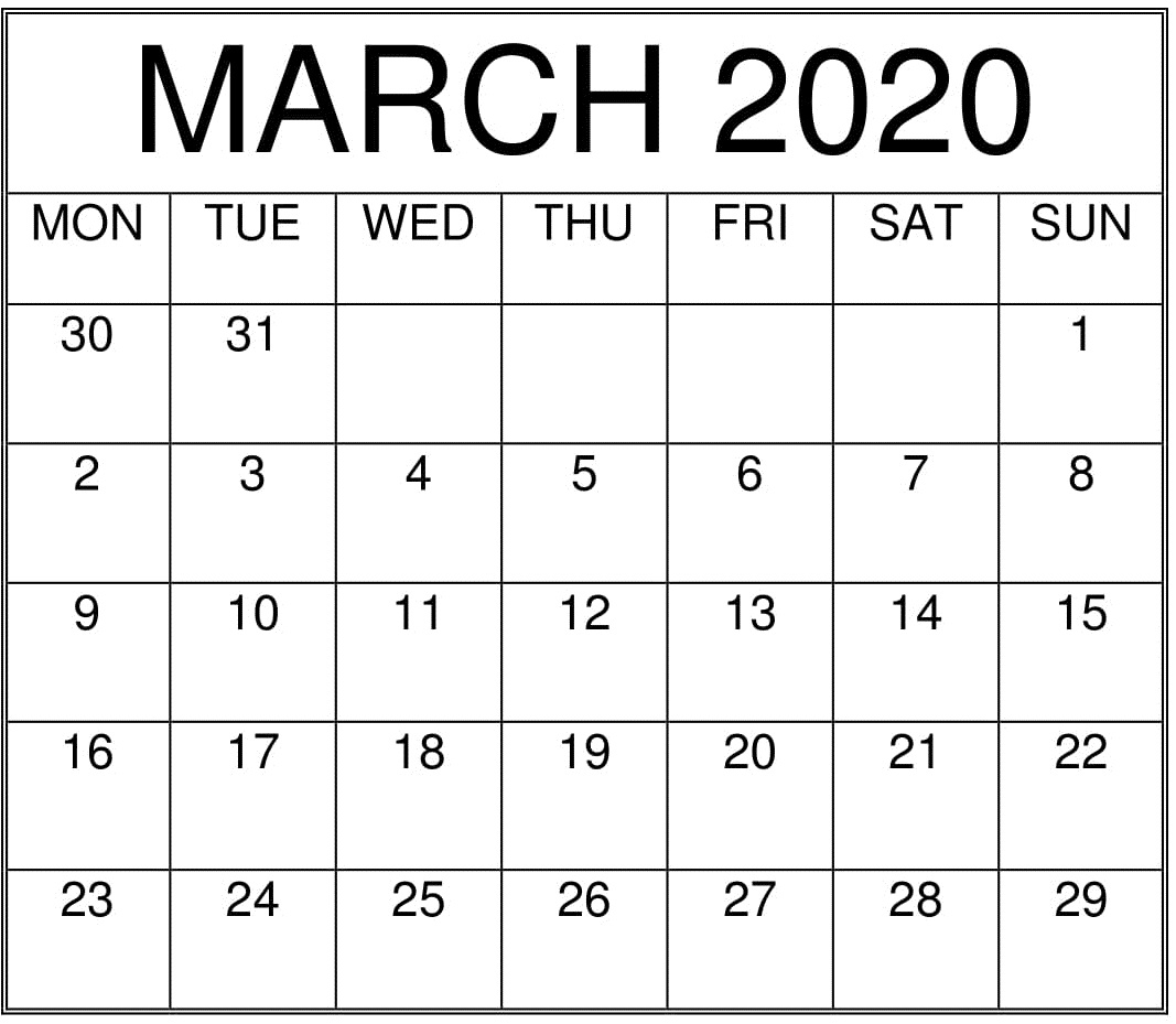 Images For March 2020 Calendar Printable | 12 Month intended for Printable Monthly Calendar