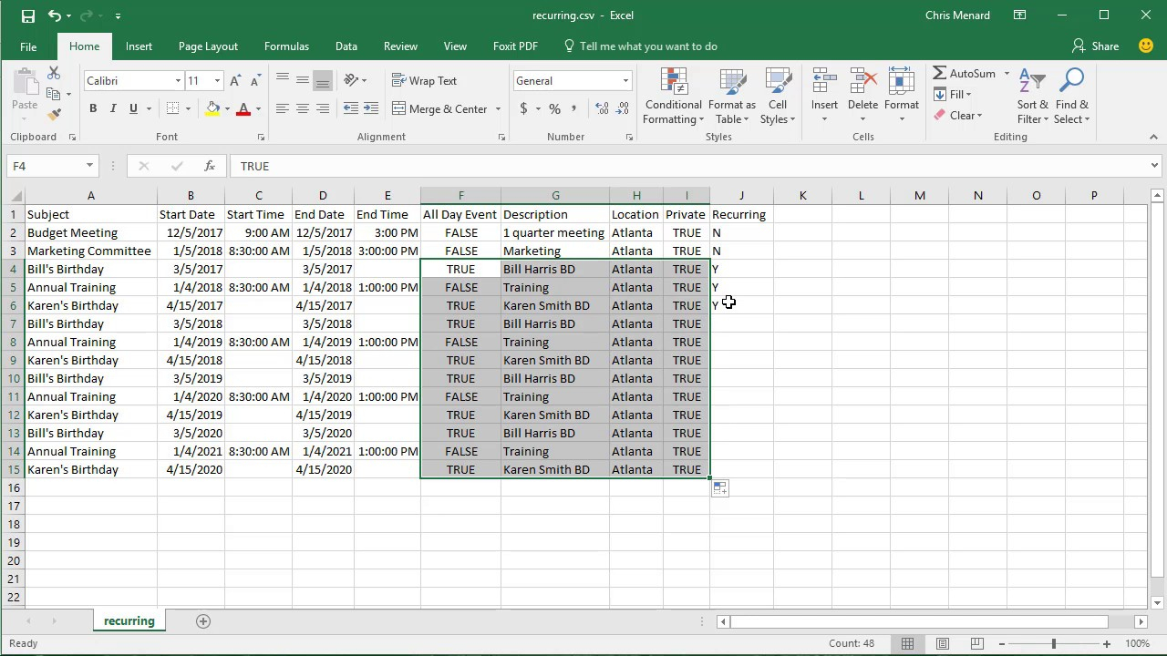Import Csv File With Recurring Events Into Google Calendar By Chris Menard intended for Creating Recurring Events In Excel Calendar