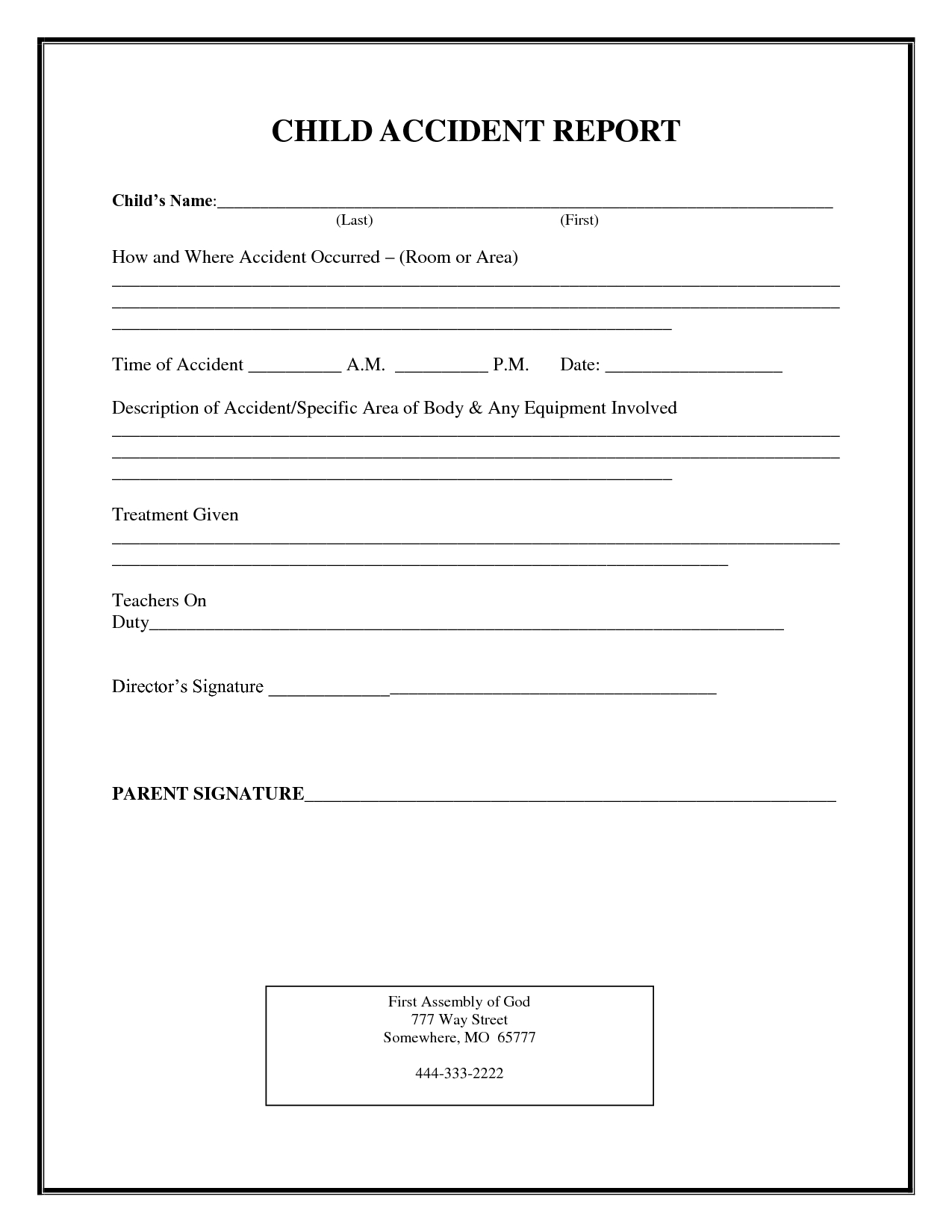 Incident Report Form Child Care | Child Accident Report within Printable Children's Church Sign In Sheet Template