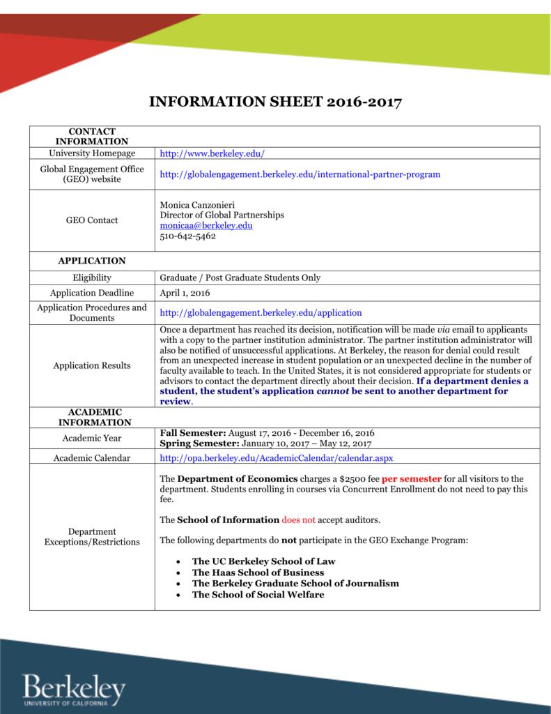 Information Sheet 20162017 regarding Uc Berkeley Academic Calendar 2017