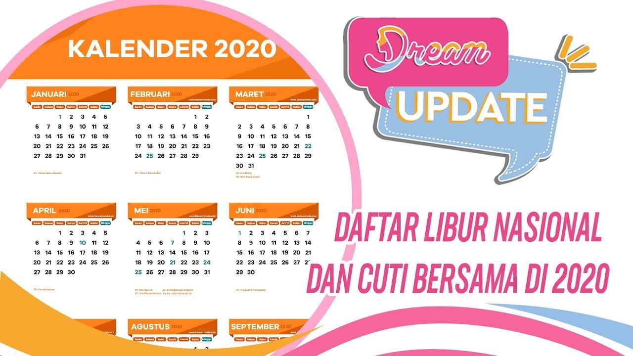 Ini Dia.. Jadwal Libur Nasional Dan Cuti Bersama Di 2020 intended for Kalendar Tahun 2020