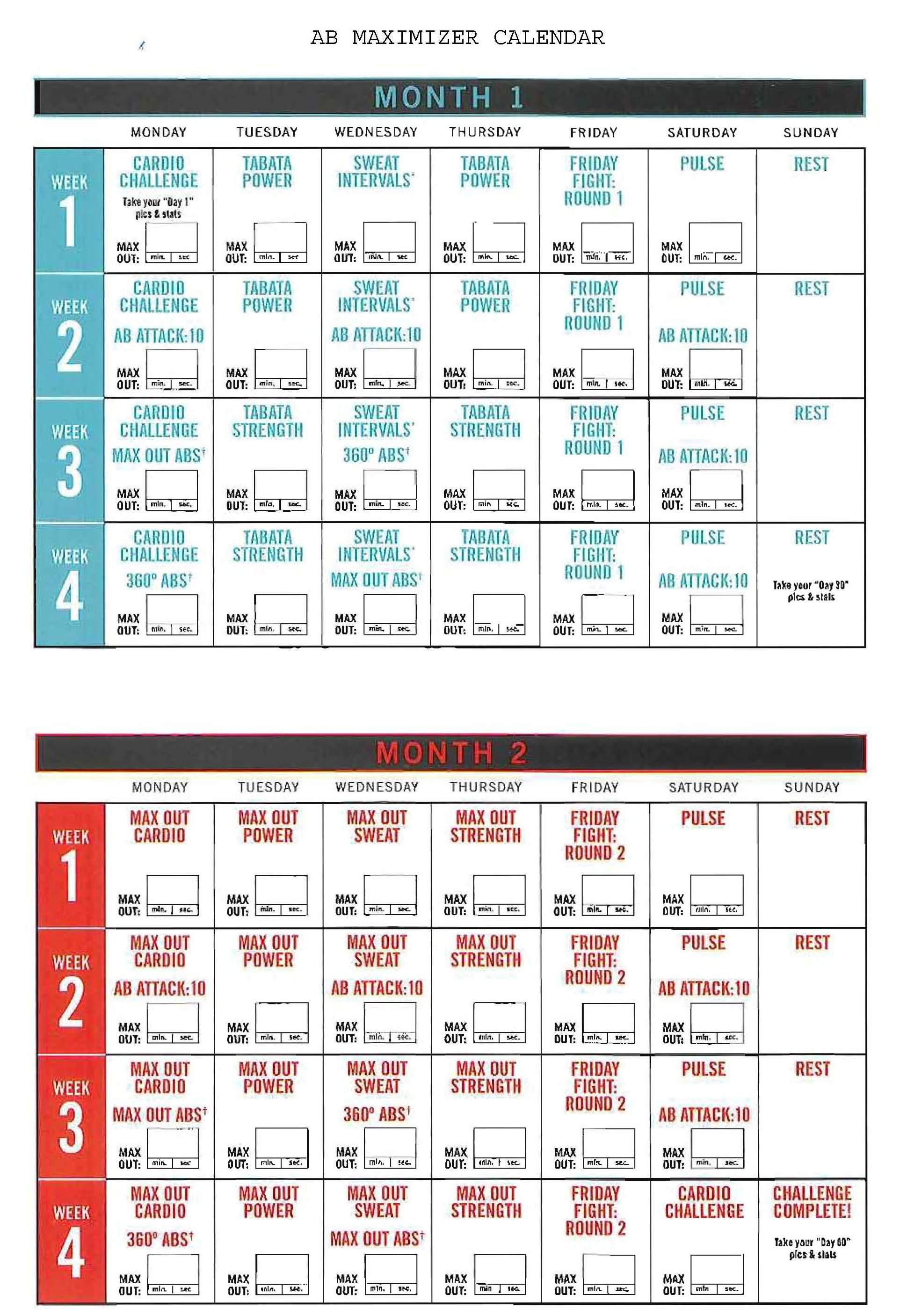 Insanity Ab Maximizer Calendar! Hit Tha Floor  Starting 12 intended for Insanity Max 30 Calendar