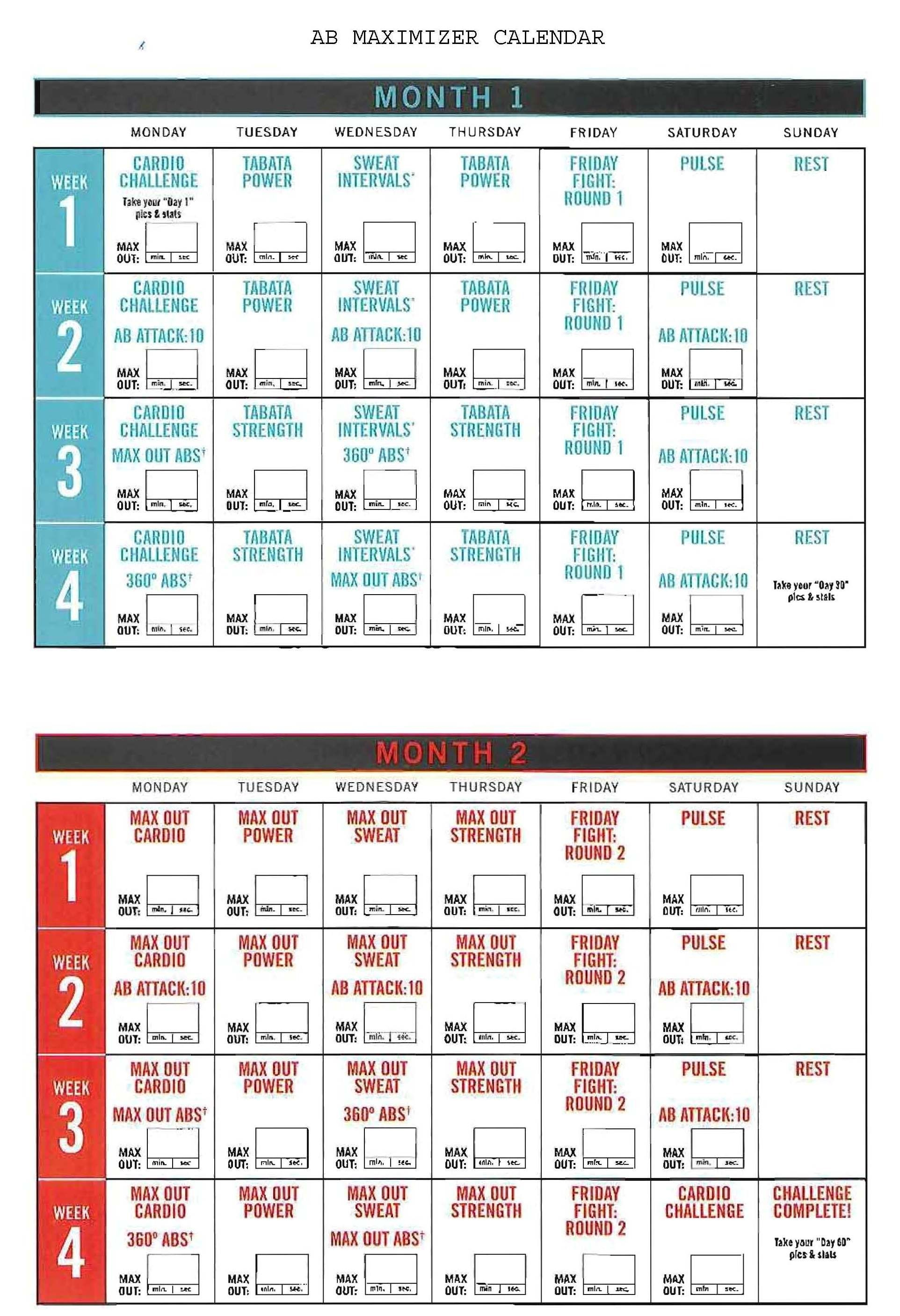 Insanity Ab Maximizer Calendar! Hit Tha Floor  Starting 12 with Shaun T Calendar