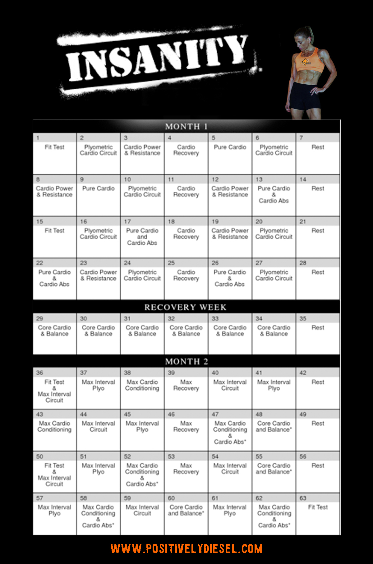 Insanity Calendar – Calendar Yearly Printable throughout Insanity Max 30 Schedule Pdf