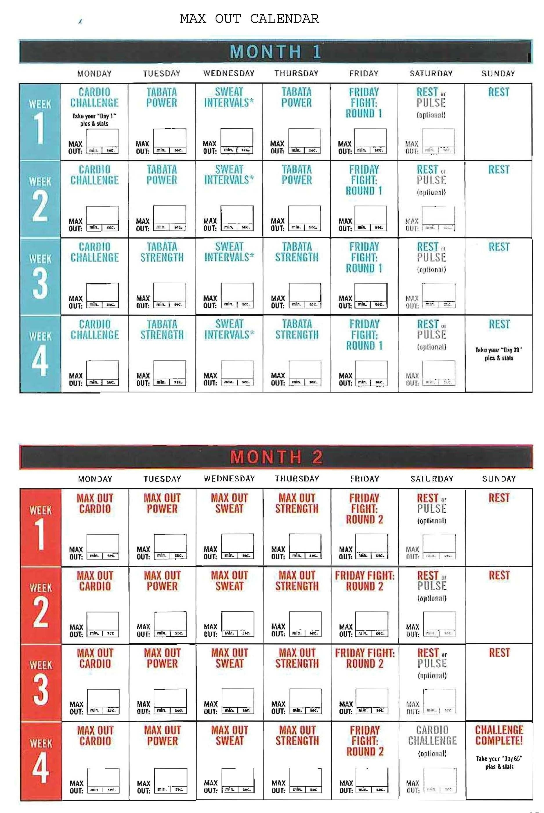 Insanity Calendar Print Out | Monthly Printable Calender with Max 30 Calendar