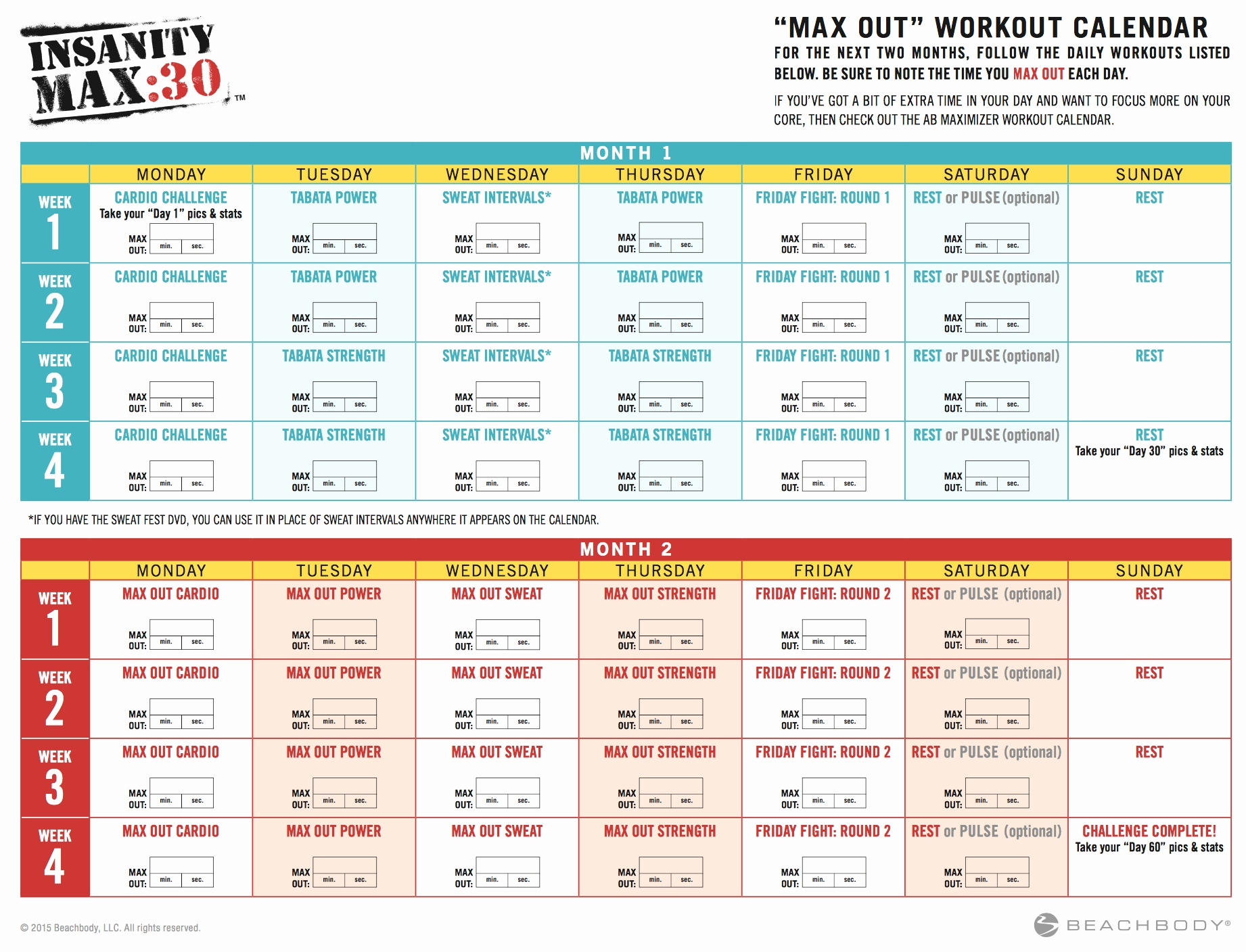 Insanity Calendar Print Out | Monthly Printable Calender within Insanity Max 30 Calendar Pdf