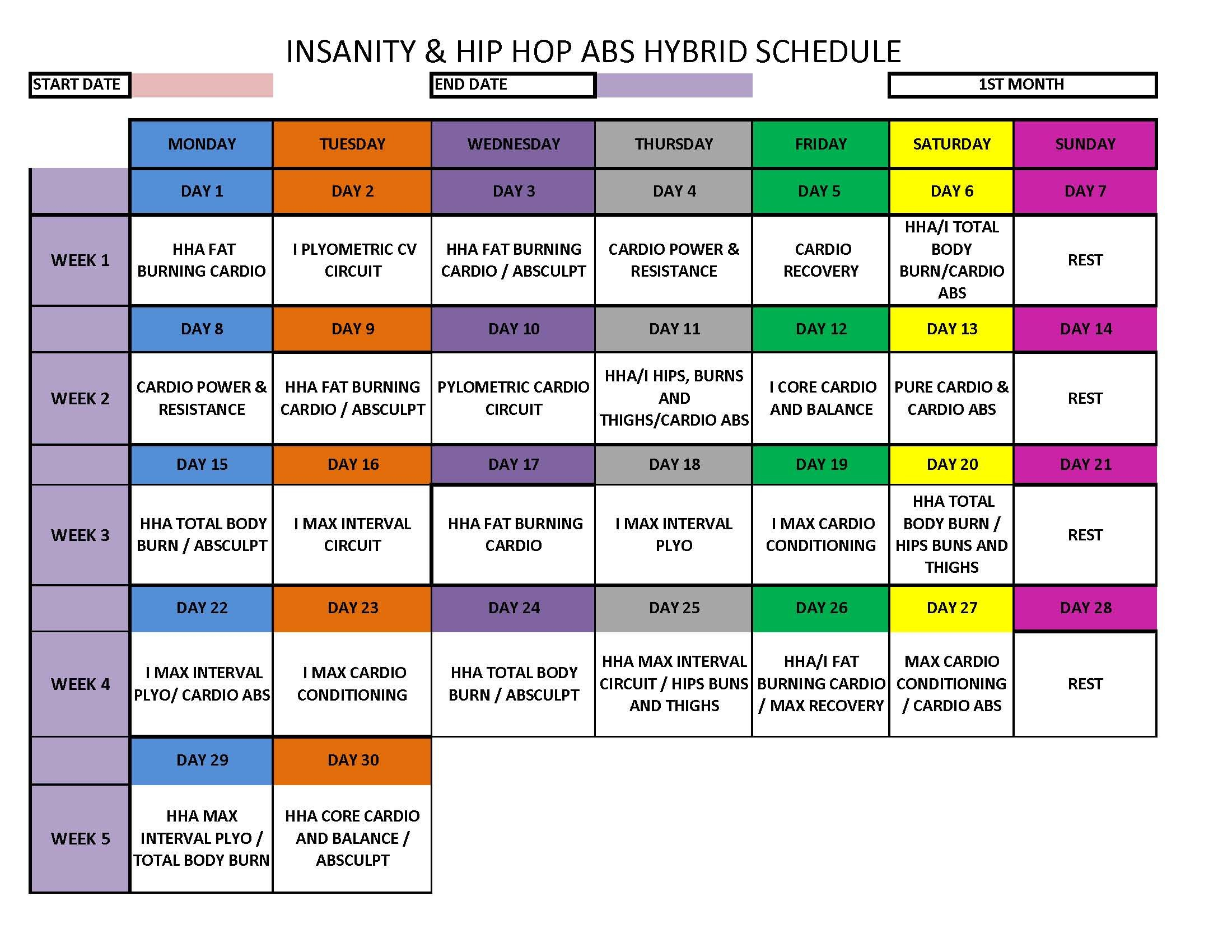 Insanity  Hip Hop Abs Hybrid Schedule | Hip Hop Abs, Cardio pertaining to Hip Hop Abs Month 2