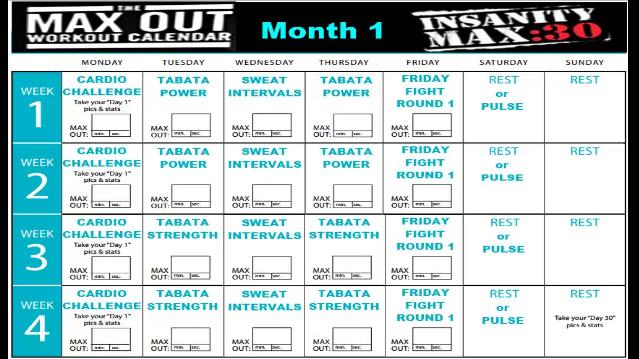 Insanity Max 30 Calendar Month 1 with regard to Shaun T Calendar