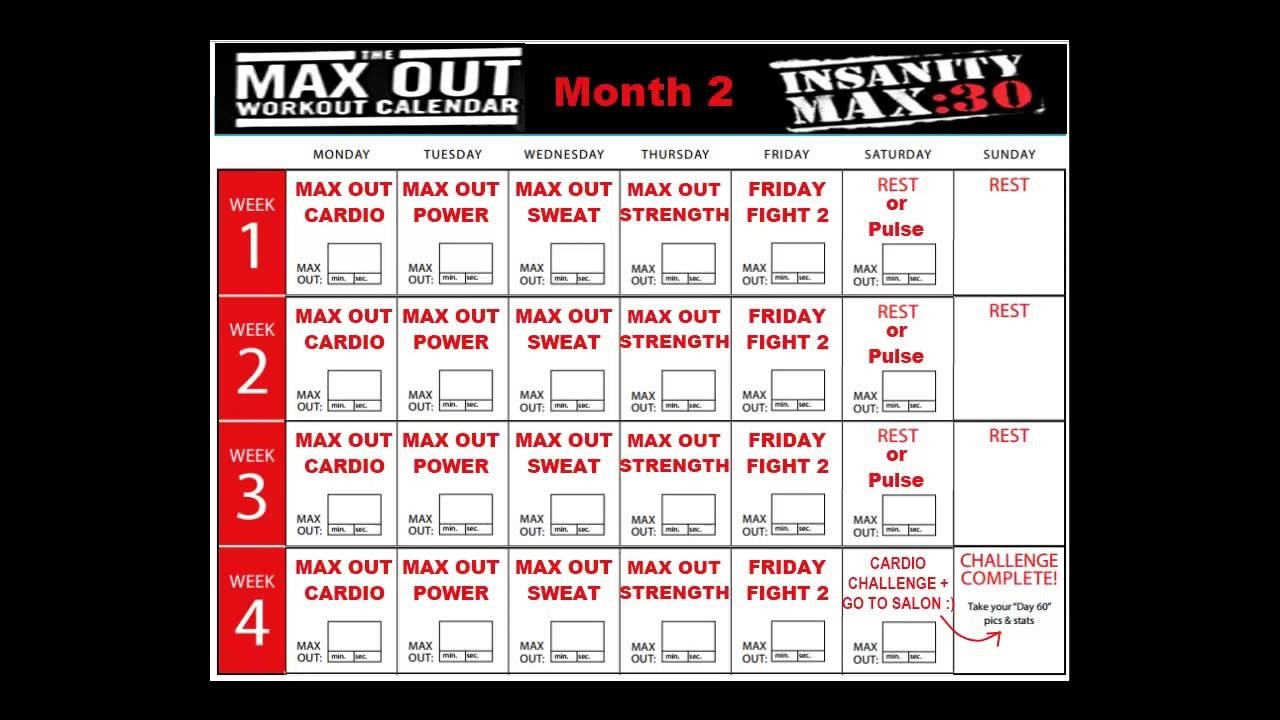 Insanity Max 30 Calendar Month 2 | Example Calendar Printable intended for Max 30 Calendar Month 2