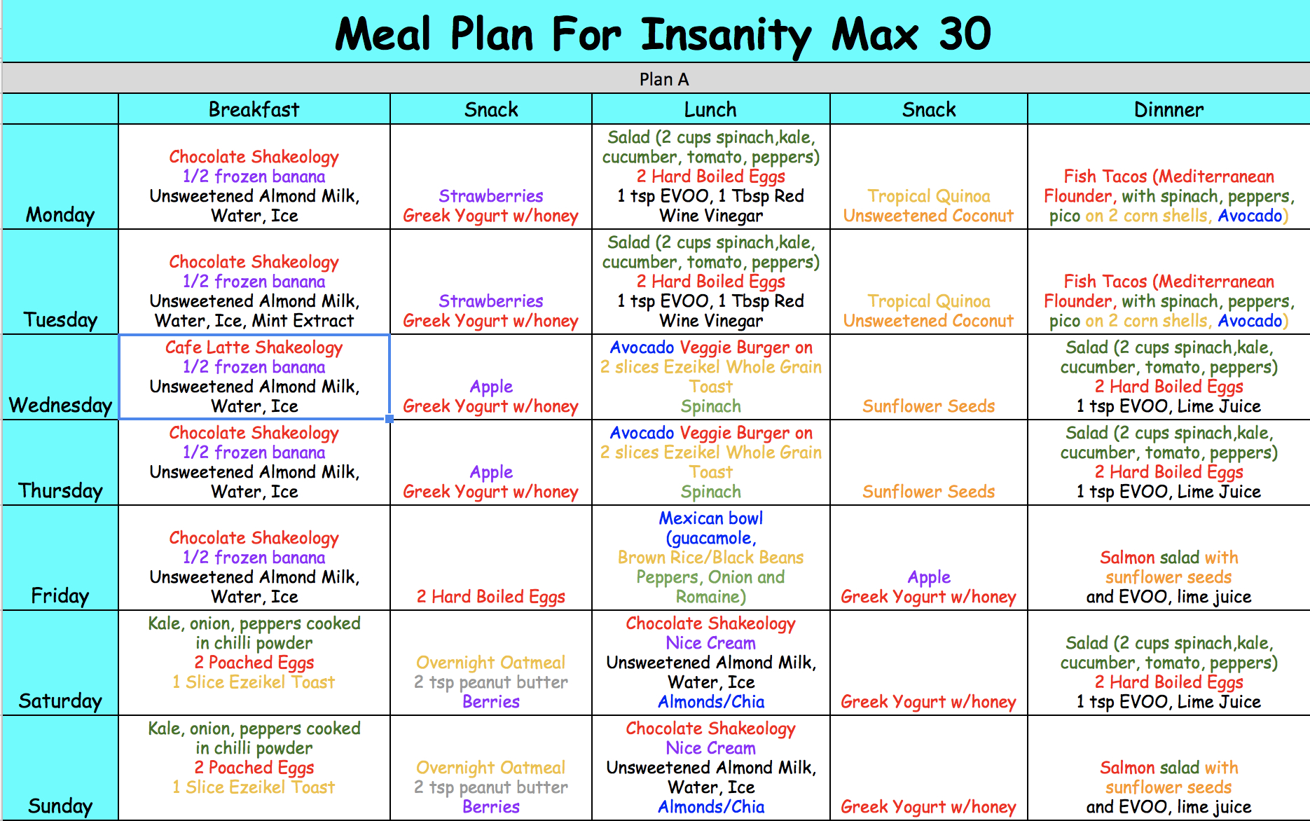 Insanity Max 30 Meal Plan  Focused On Fitness in Insanity Max 30 Calendar