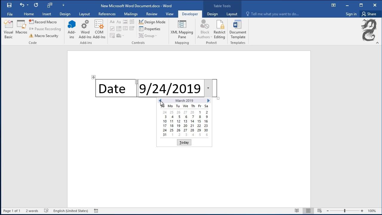 Insert A Date Picker In Microsoft Word: Create Drop Down List Of Date  Calendar with regard to Pdf Form Calendar Date Picker