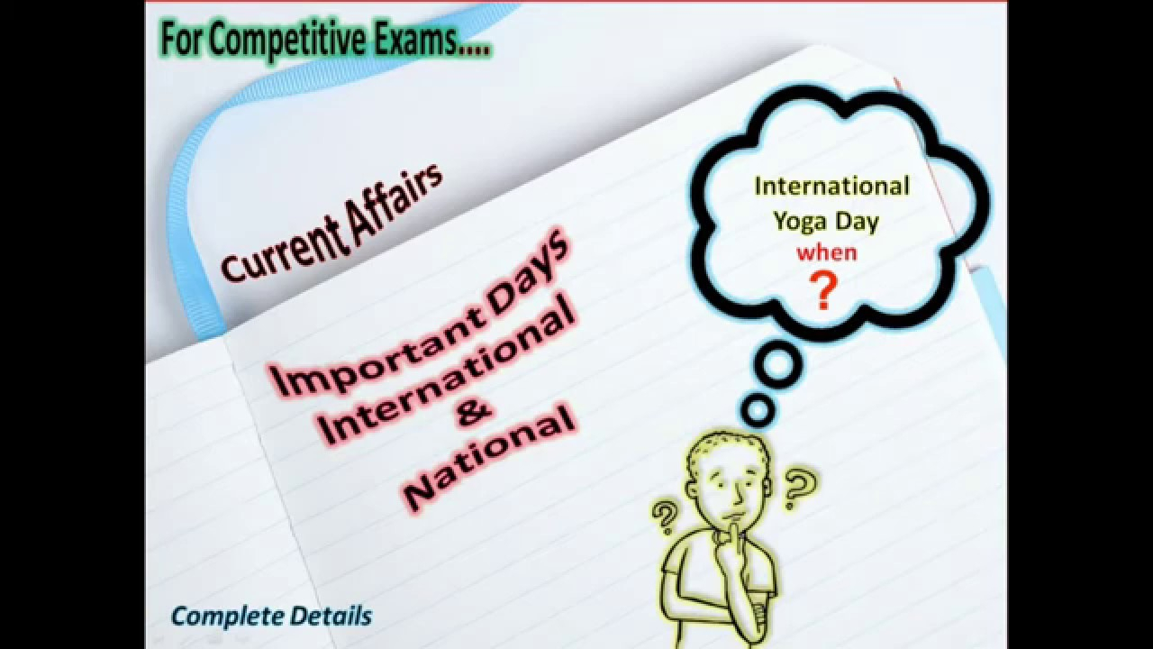 International And National Daysjune Month  Current Affair 2019   International Yoga Day throughout International Days In June