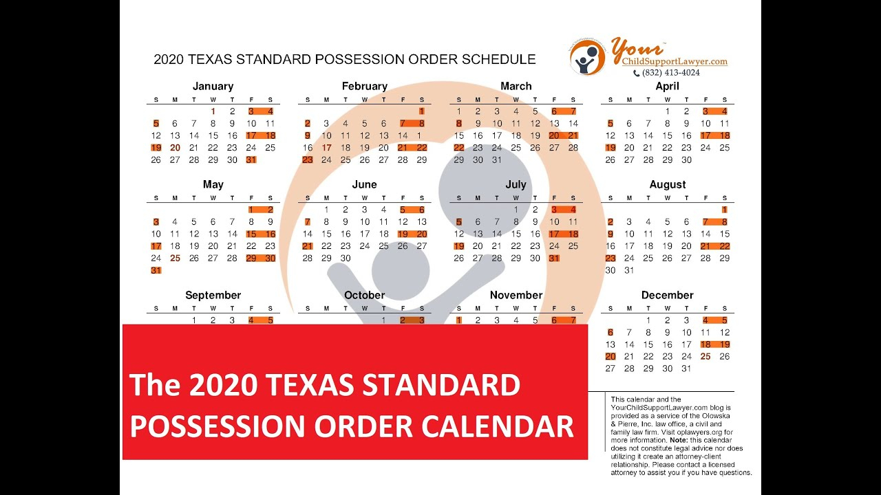 Introducing The 2020 Texas Standard Possession Order for 1St 3Rd And 5Th Weekend Calendar 2020