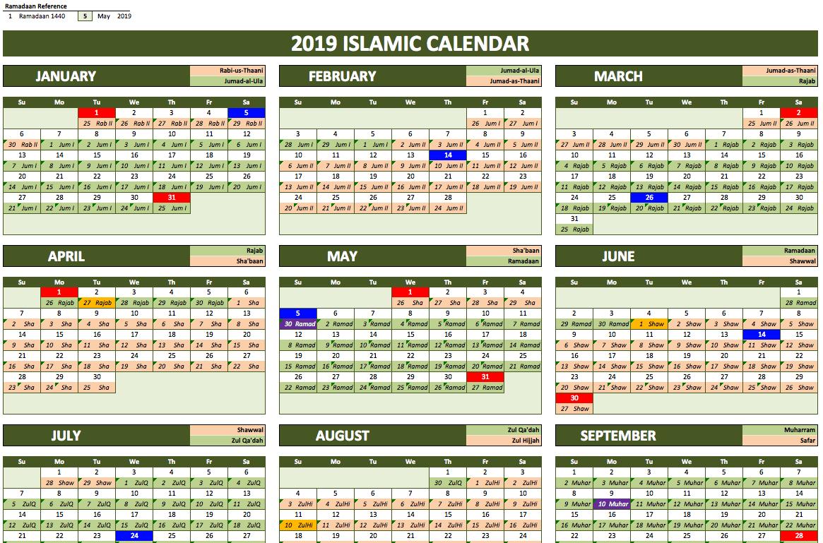 Islamic Calendar 2019 with Excel Lunar Calendar Formula