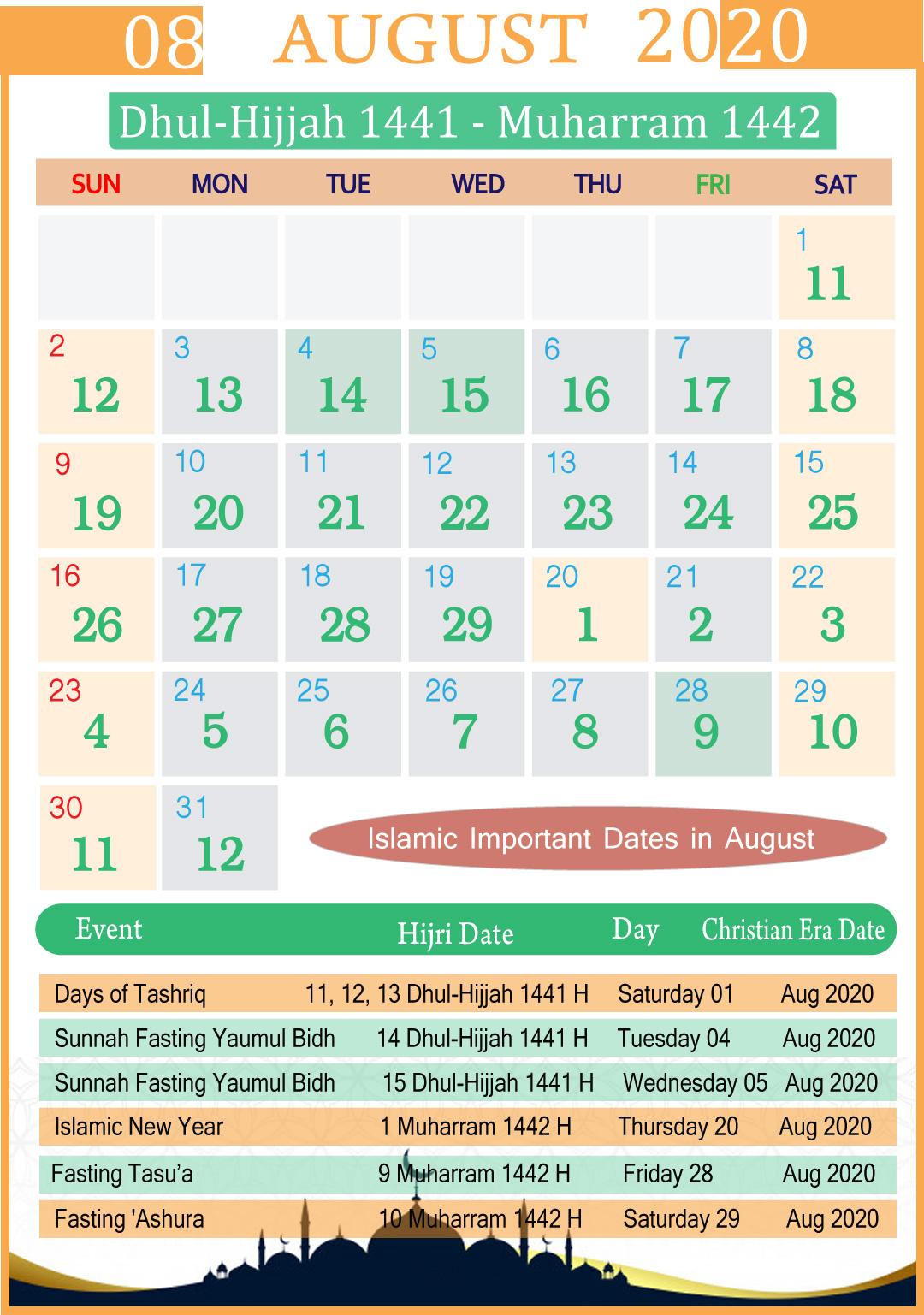 Islamic Calendar August 2020 | Year for Kannada Calendar 2020 July
