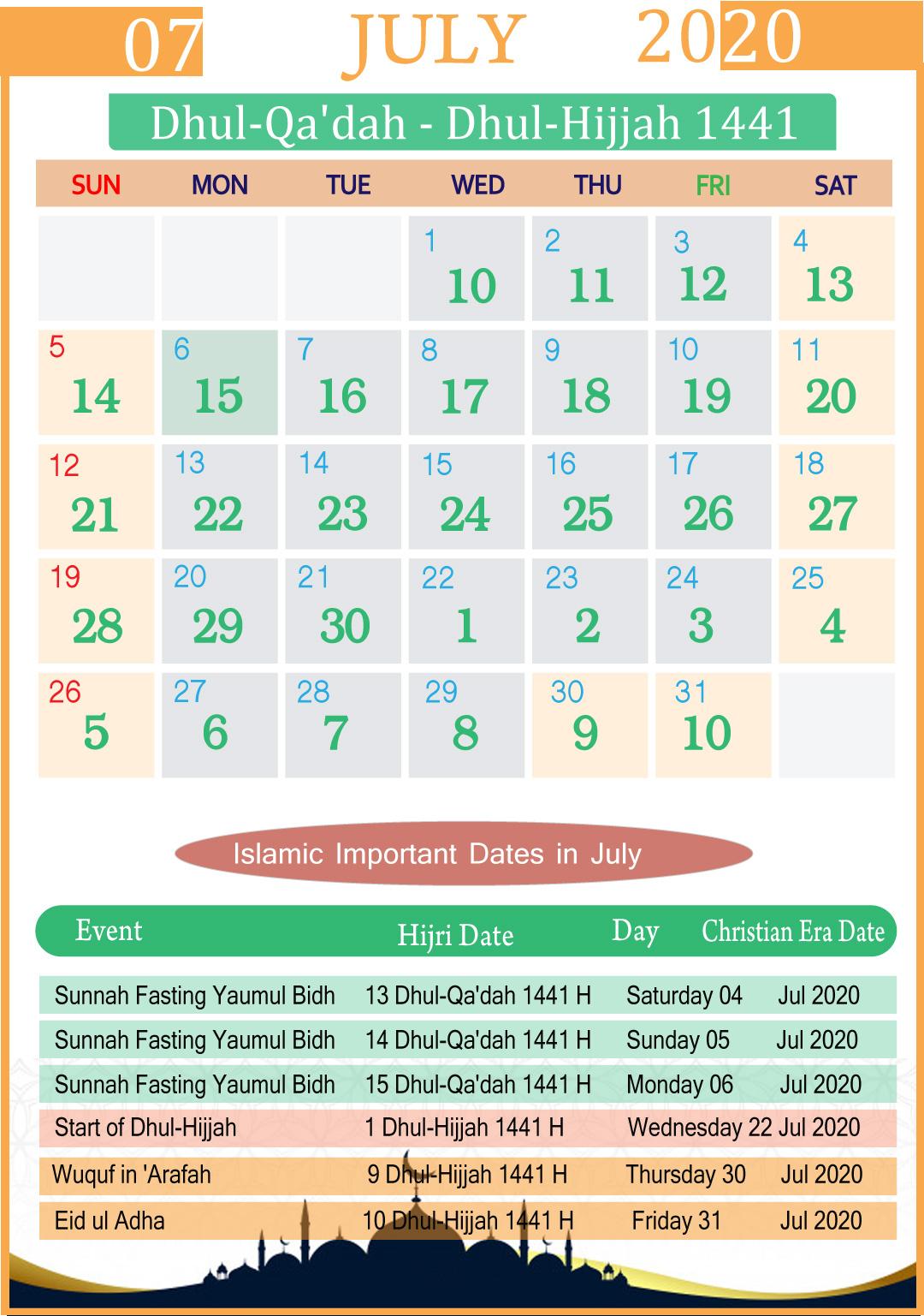 Islamic Calendar July 2020 | Year inside Kannada Calendar 2020 July